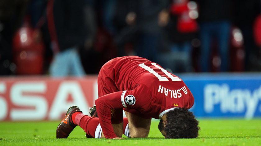 Mohamed Salah marcou ao Manchester City Foto: Peter Powell/EPA