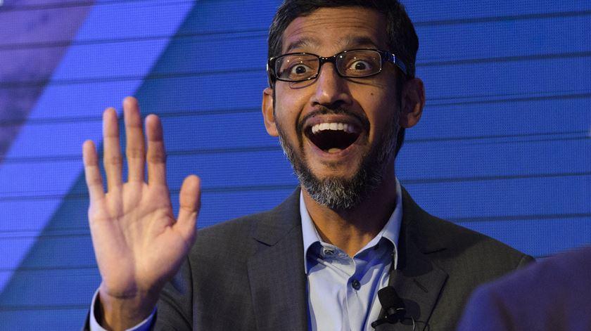 Sundar Pichai, o CEO da Google, está em Davos. Foto: Gian Ehrenzeller/EPA