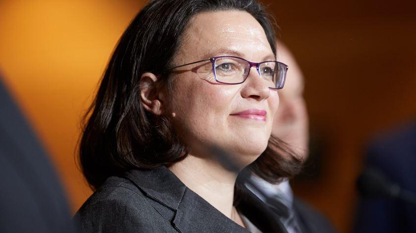 Andrea Nahles vai herdar um partido em crise. Foto: Hayoung Jeion/EPA