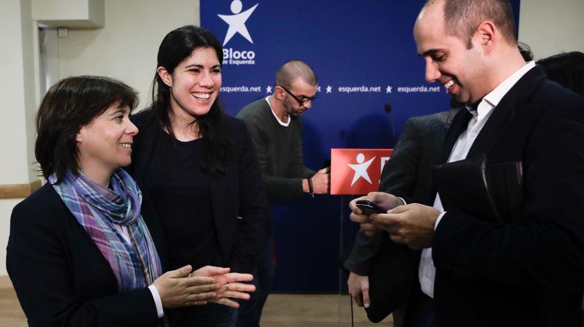Catarina Martins, Mariana Mortágua e Pedro Filipe Soares, do Bloco de Esquerda. Foto: Paulo Cunha/Lusa