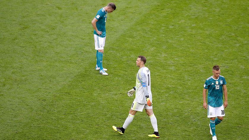 Desalento entre os jogadores alemães. Foto: Diego Azubel/EPA