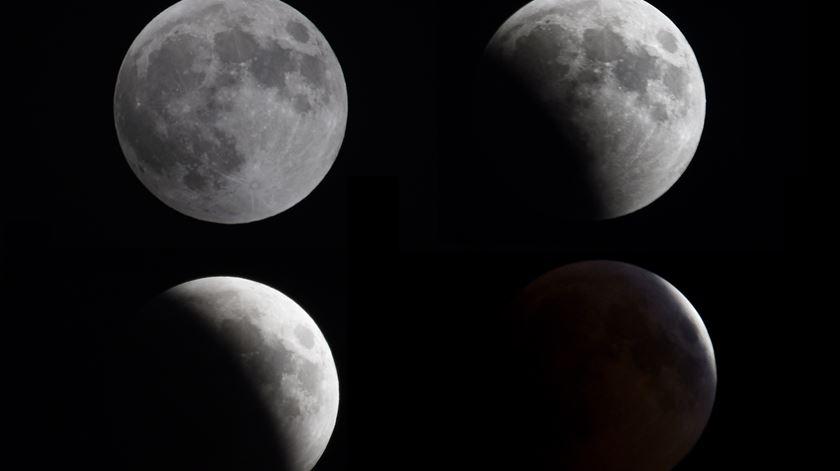 As várias fases do eclipse na cidade do Kuwait Foto: Noufal Ibrahim/EPA