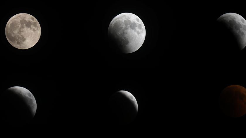 Fotomontagem com as várias fases do eclipse Fotos: EPA