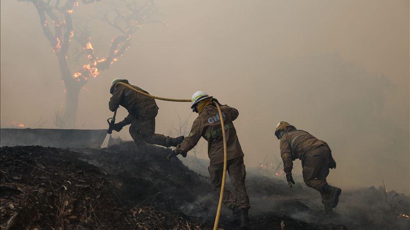 Incêndio agravou-se durante a tarde desta segunda-feira. Foto: Miguel A. Lopes/Lusa