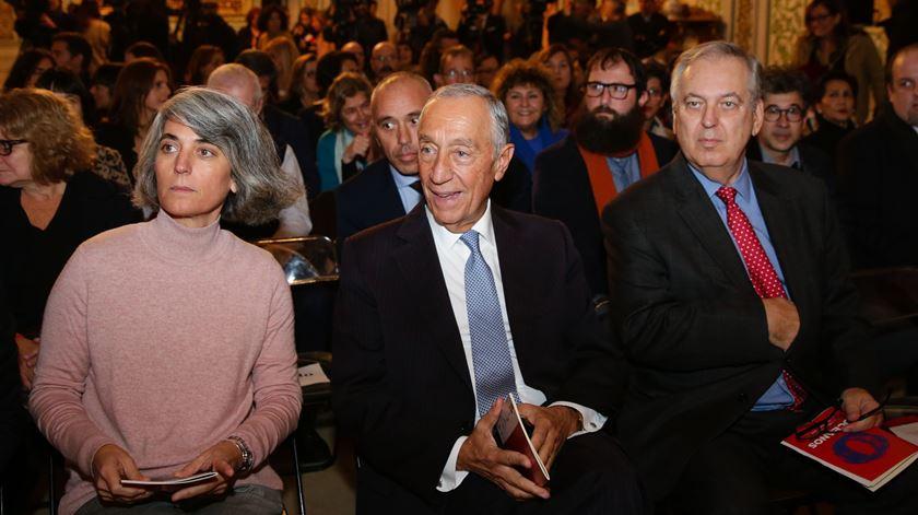 Marcelo Rebelo de Sousa com ministra da Cultura, Graça Fonseca e Luiz Alberto Machado. Foto: Tiago Petinga/Lusa