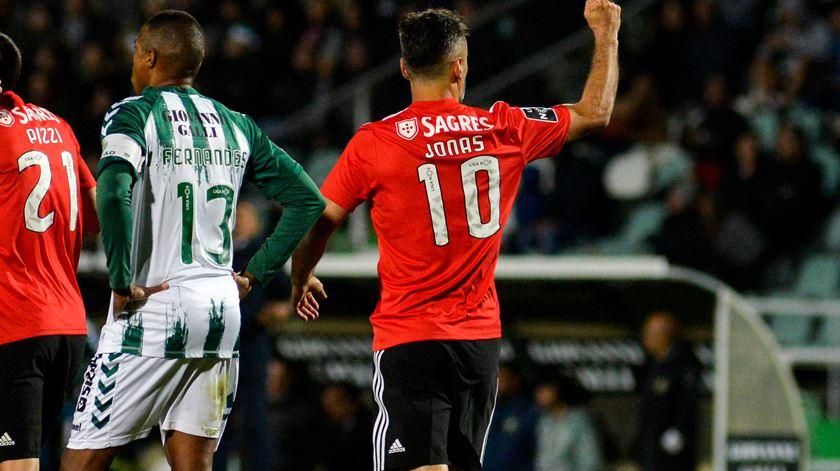Jonas, Benfica, marca em Setúbal. Foto: Rui Minderico/Lusa