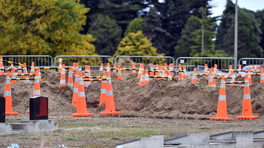 Vista do cemitério de Memorial Park em Christchurch, na Nova Zelândia, onde serão enterradas as 50 vítimas do ataque. Foto: Mick Tsikas/EPA