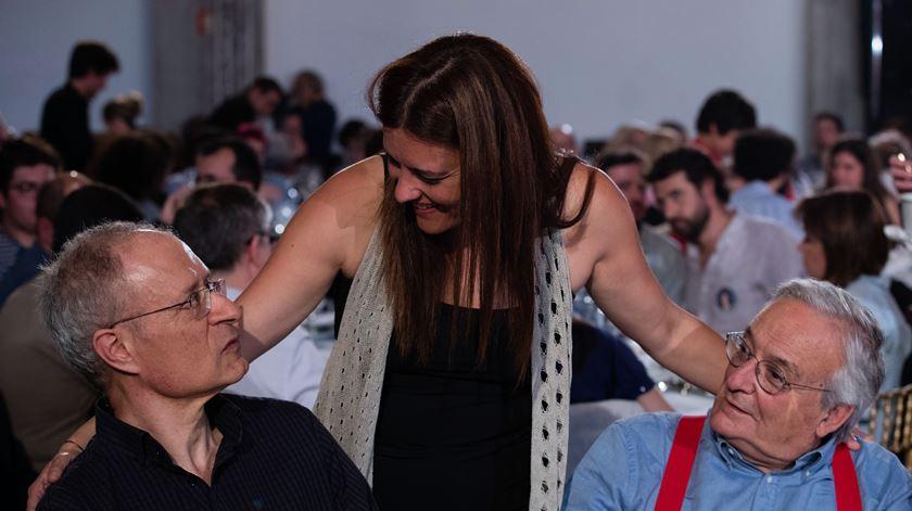 Marisa Matias com Francisco Louçã e Fernando Rosas. Foto: José Coelho/Lusa