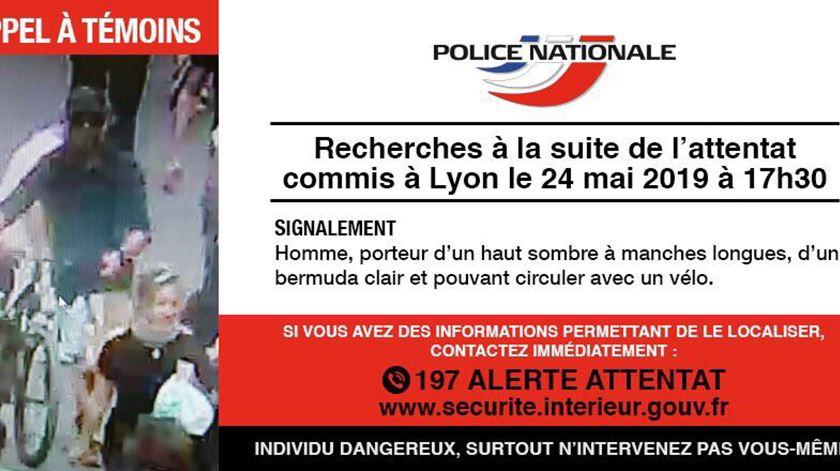 Polícia francesa divulga imagem do suspeito de ataque em Lyon