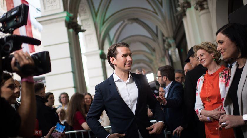 O Chanceler Sebastian Kurz celebra os resultados nas europeias. Foto: Michael Gruber/EPA