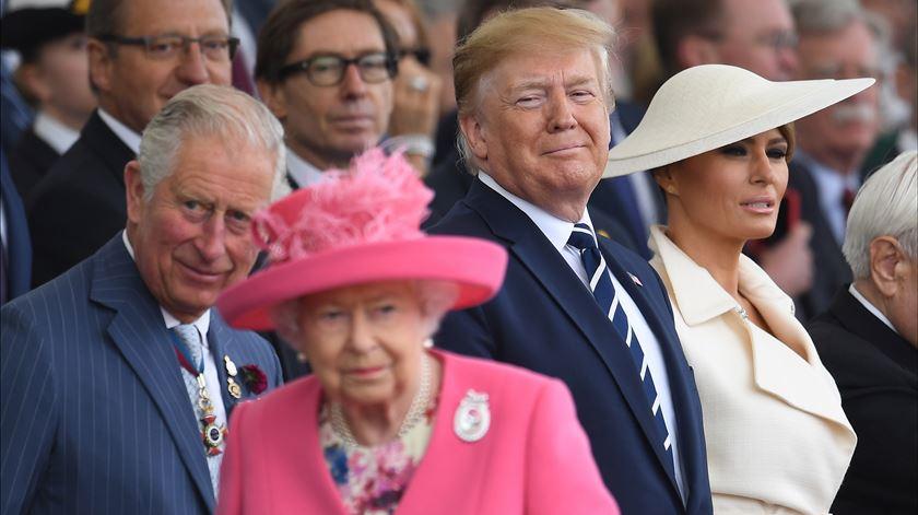 Donald Trump e rainha Isabel II no 75.º aniversário do Dia D, em Portsmouth. Foto: EPA