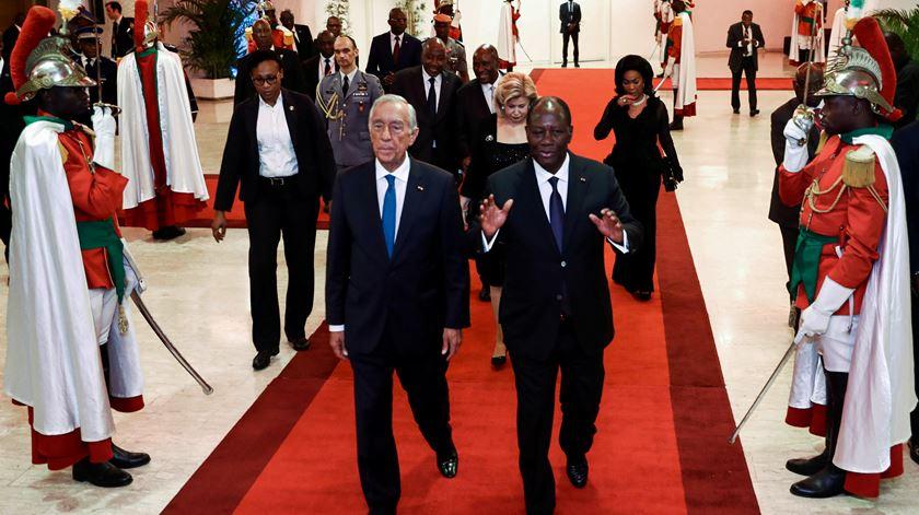 Marcelo Rebelo de Sousa com o homólogo da Costa do Marfim, Alassane Ouattara. Foto: António Cotrim/Lusa