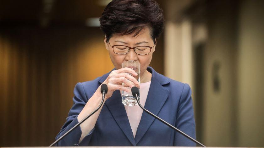 Carrie Lam é chefe do executivo de Hong Kong desde 2017. Foto: Vivek Prakash/EPA