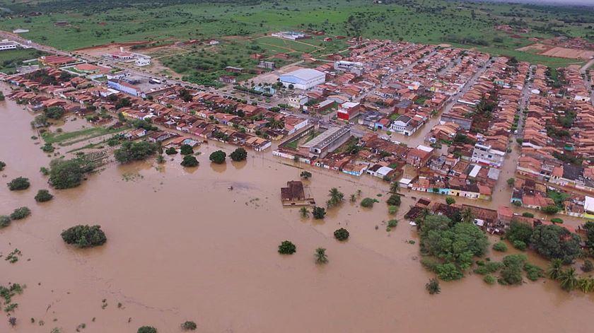 Cheias na cidade de Coronel João Sá. Foto: Diego Santos/Defesa Civil da Bahia