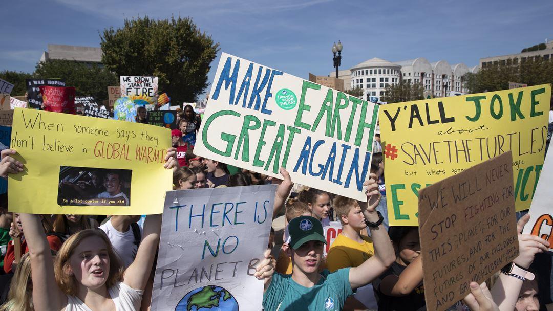 Greve mundial pelo clima em frente ao Capitólio, Washington. Foto: Michael Reynolds/EPA