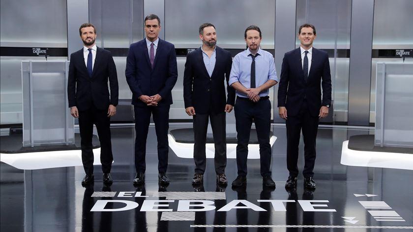 Candidatos Pablo Casado, Pedro Sánchez, Santiago Abascal, Pablo Iglesias e Albert Rivera. Foto: Juan Carlos Hidalgo/EPA