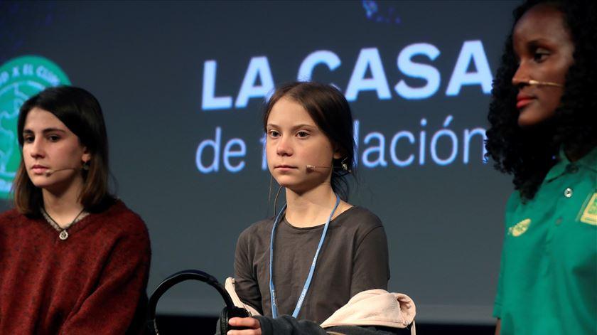 """Greta em Madrid. """"Não é sustentável continuarmos a faltar às aulas"""""""