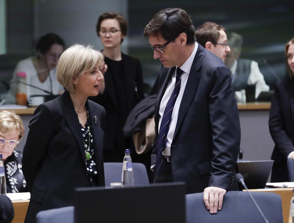 Marta Temido preside à reunião virtual entre os ministros europeus. Foto: Olivier Hoslet/EPA
