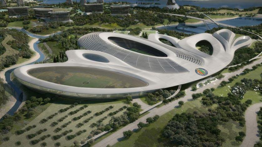O complexo terá um estádio com 40 mil lugares, heliporto e campo de golf. Foto: Cora Alpha