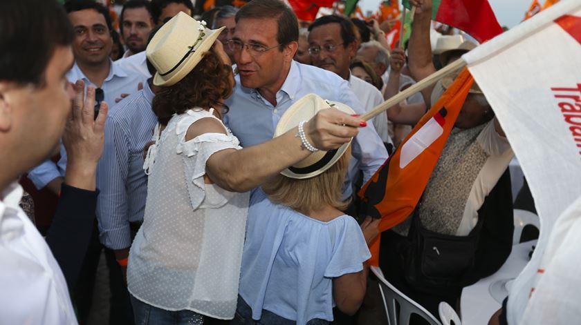 Passos Coelho à chegada ao Pontal, PSD. Foto: Luís Forra/Lusa