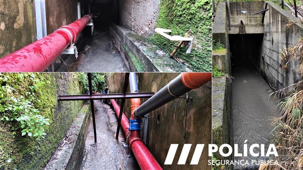 Túnel ao pé do rio Trancão por onde tentaram escaparam infratores ao confinamento. Foto: PSP