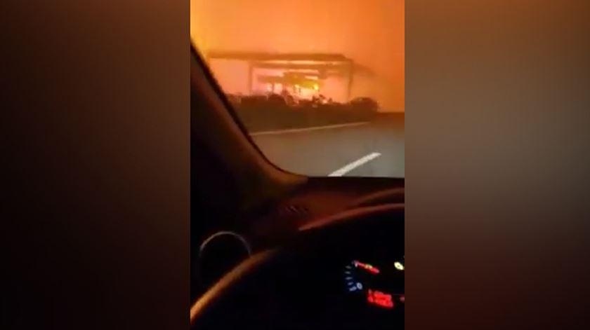 Vídeo mostra condutor em pânico a fugir às chamas na A17