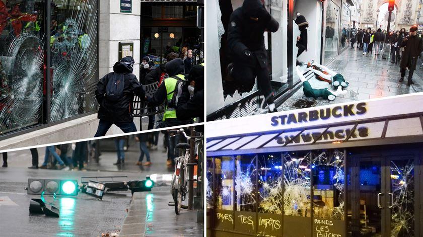 """Protesto dos """"coletes amarelos"""" deixa rasto de destruição em Paris"""