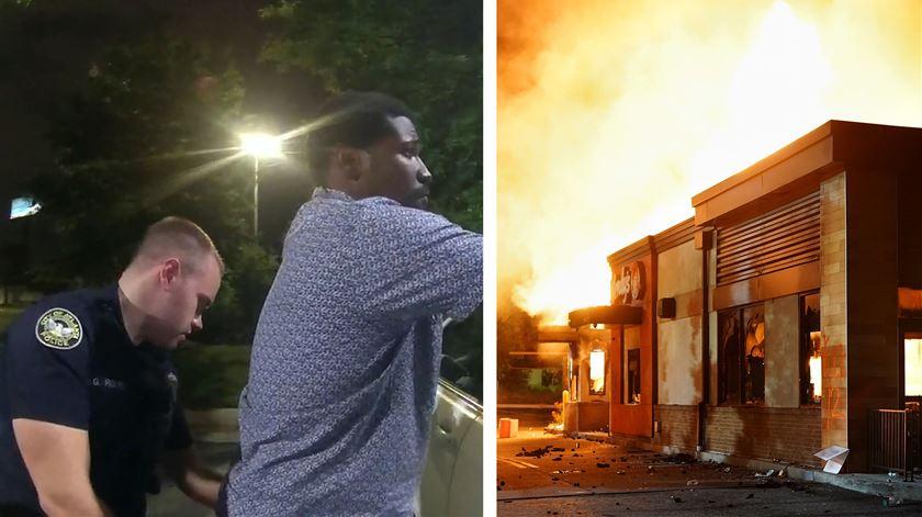 Afro-americano morre às mãos da polícia em Atlanta. Manifestantes revoltados incendeiam restaurante