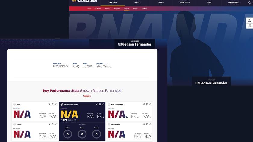 Captura de ecrã do site do Barcelona.