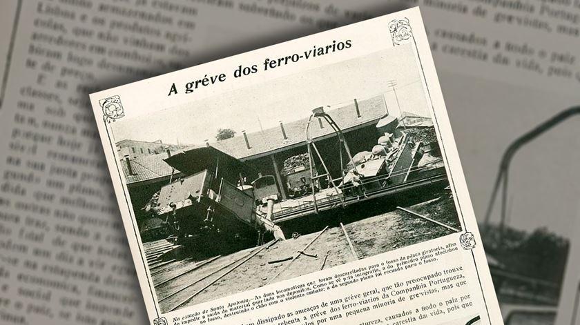 """Capa da revista """"Ilustração Portugueza"""" greve de ferroviários de 1919. Foto: Hemeroteca digital via restosdecoleccao.blogspot.com"""
