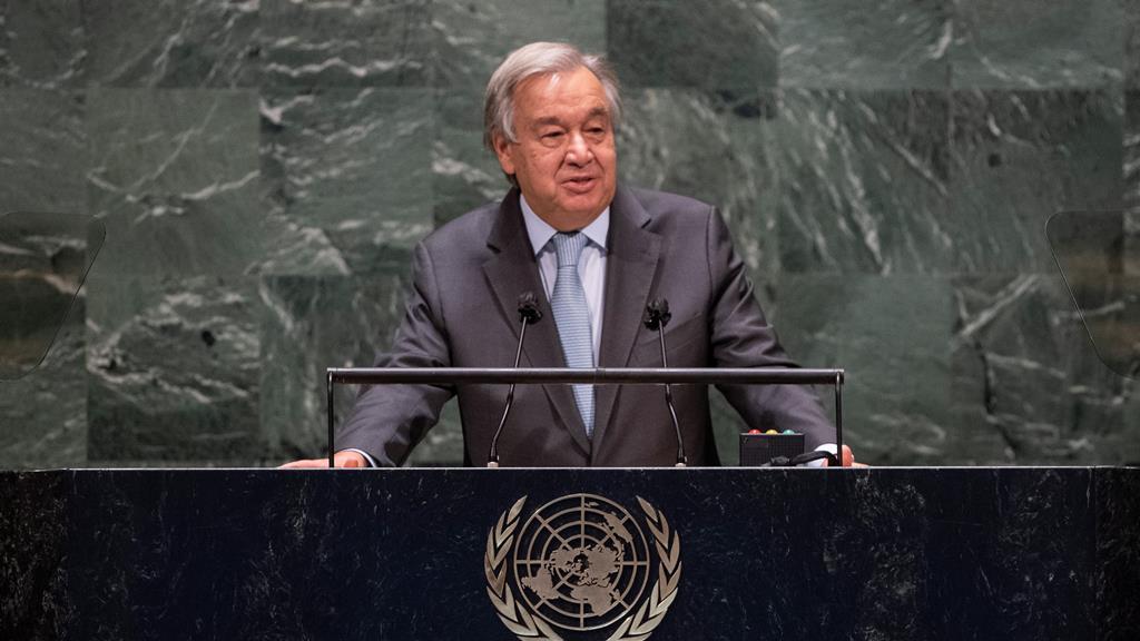 António Guterres discursa na 75ª Assembleia Geral (21/09/2020) Foto: Eskinder Debebe/UN/EPA