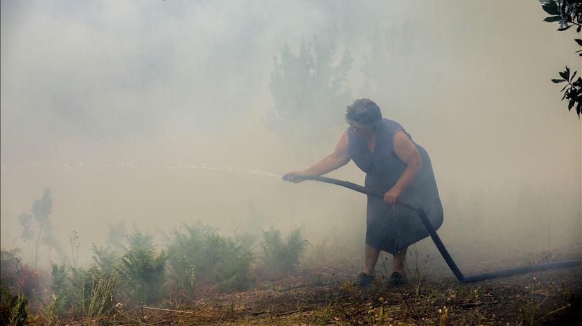 Bombeiros começam a vencer a batalha contra as chamas em Mondim de Basto. Foto: Paulo Cunha/Lusa