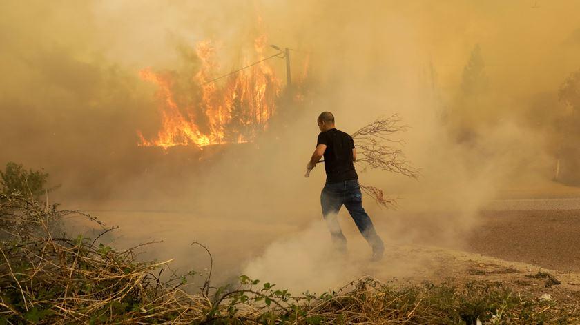 Para combater as chamas, os populares usam o que têm à mão. Se falta água, pega-se em ramos secos. Foto: Paulo Novais/Lusa