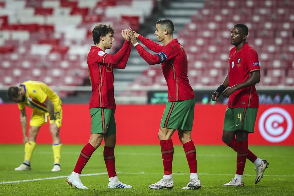 João Félix e Cristiano Ronaldo são dois dos jogadores que integram os clube fundadores da Superliga Europeia. Foto: José Sena Goulão/Lusa