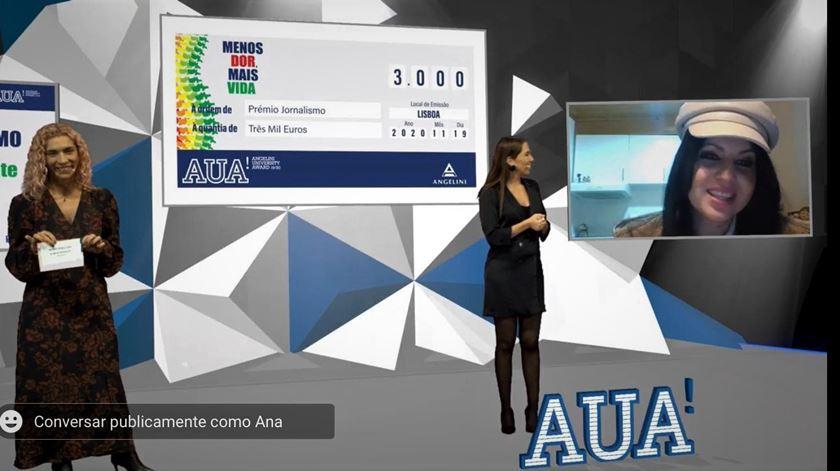 Entrega do prémio foi transmitida em live streaming. Foto: DR