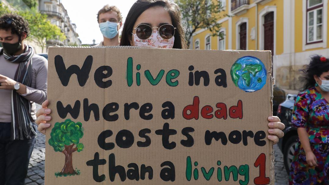 """Cartaz empunhado por uma jovem, onde se lê: """"Vivemos num mundo em que uma árvore morta vale mais que uma árvore viva"""". Foto: Paulo Novais/Lusa"""