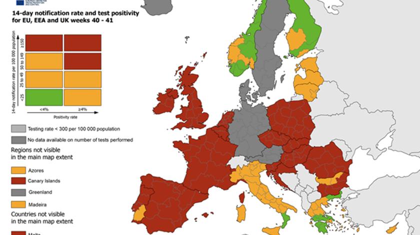 Mapa: Centro Europeu de Controlo de Doenças (ECDC)
