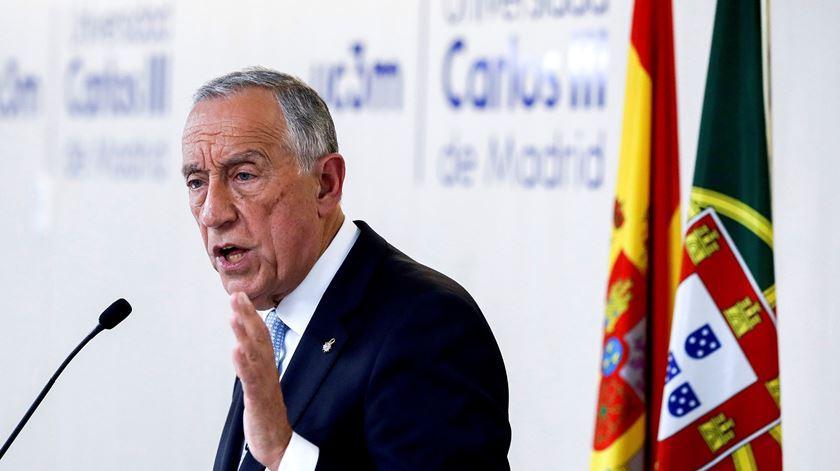 Marcelo Rebelo de Sousa na Universidade Carlos III, em Madrid. Foto: Emilio Naranjo/EPA