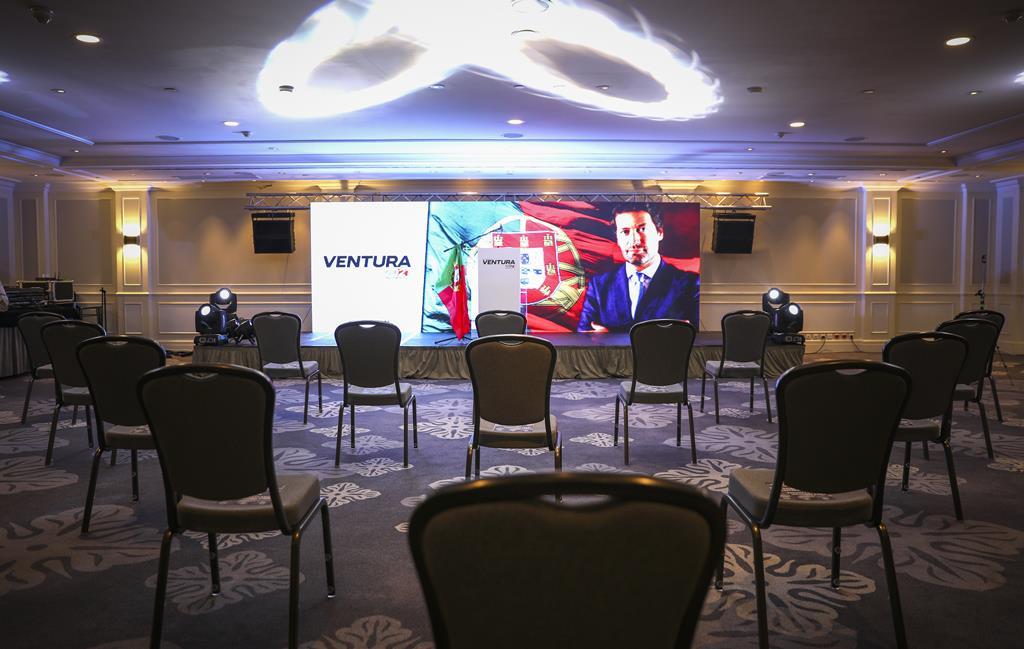 Hotel Marrior, em Lisboa, decorado para noite eleitoral de André Ventura, nas presidenciais de 2021. Foto: Inês Rocha/RR