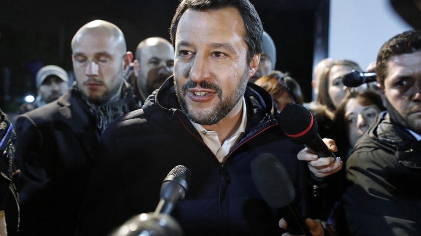 Matteo Salvini, líder da Liga, partido de extrema-direita italiano que agora chega ao governo, em coligação com o Movimento 5 Estrelas. Foto: Riccardo Antimani/EPA