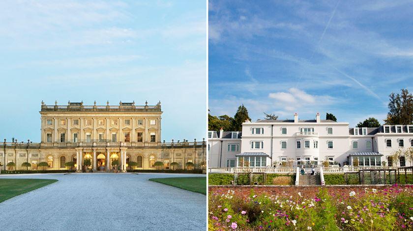 Hotel Cliveden House (à esquerda), onde ficará Meghan Markle e hotel Coworth Park in Ascot (à direita), onde Harry e William estarão hospedados.