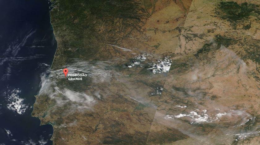 Imagem de satélite captada a 17 de Junho pela NASA Wordview