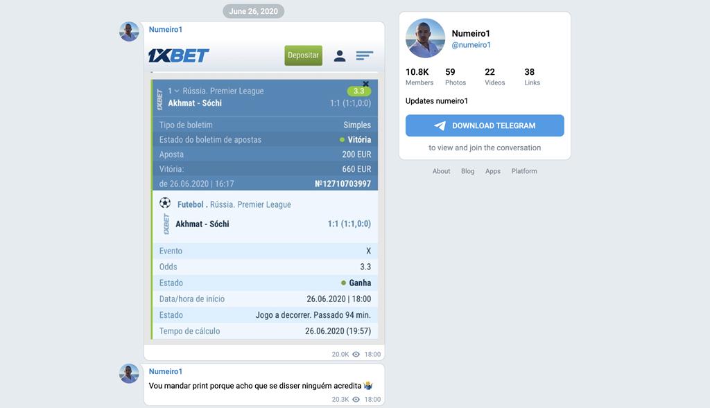 No grupo de Telegram público onde promovia o seu negócio, Numeiro mostrava qual a casa de apostas que usava para apostar: a 1XBet, que não tinha licença em Portugal e entretanto fechou. Imagem: D.R.