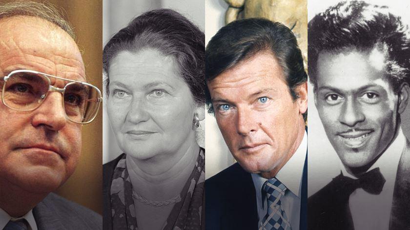 Helmut Kohl, Simone Veil, Roger Moore e Chuck Berry. Foto-montagem: RR