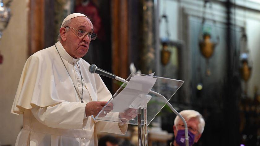 O Papa Francisco no Encontro Internacional pela Paz, em Roma, 2020. Foto: Ansa/Vatican Media