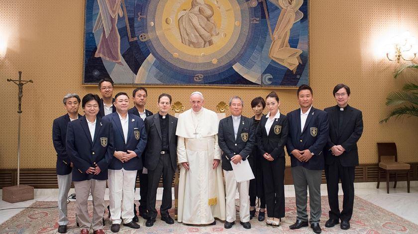 Papa Francisco com delegação japonesa. Foto: Ansa/EPA