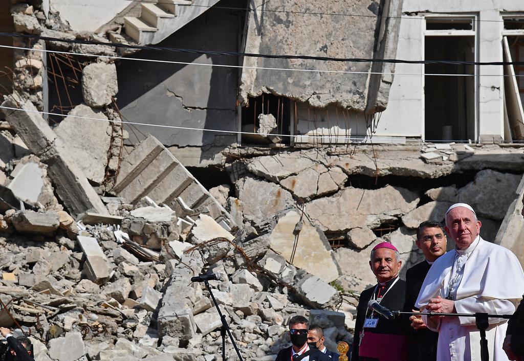 O Papa Francisco em Mossul. Foto: DR