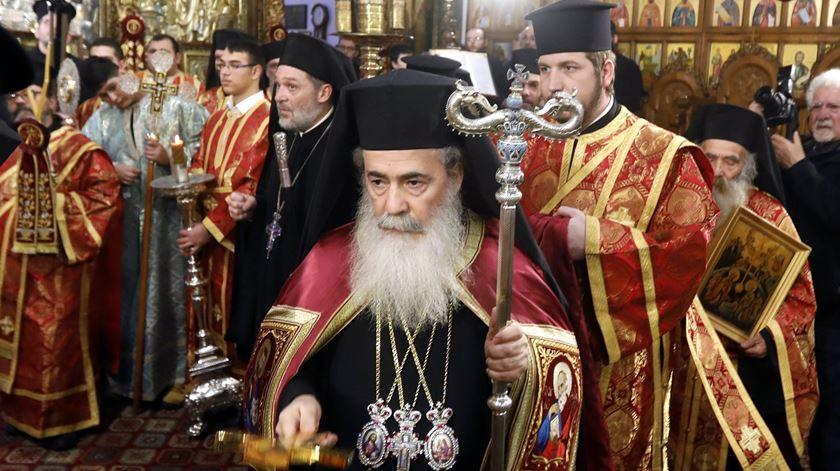 Patriarca Teofilo III em Belém para celebração do Natal. Foto: Abed al Hashlamoun/EPA