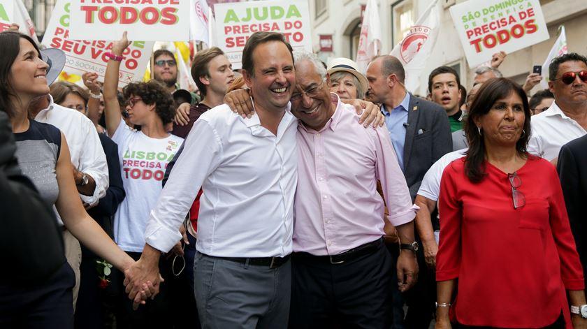 Fernando Medina e António Costa em Lisboa, PS. Foto: Tiago Petinga/Lusa