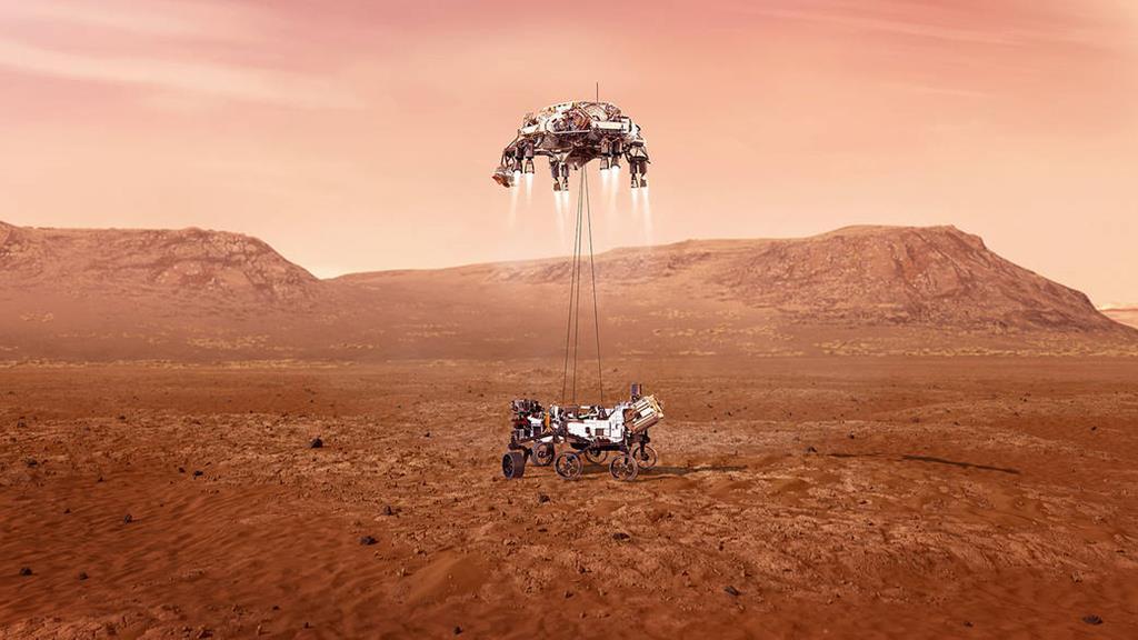 """Ilustração do robot """"Perseverance"""" na chegada a Marte. Foto: NASA/JPL-Caltech"""